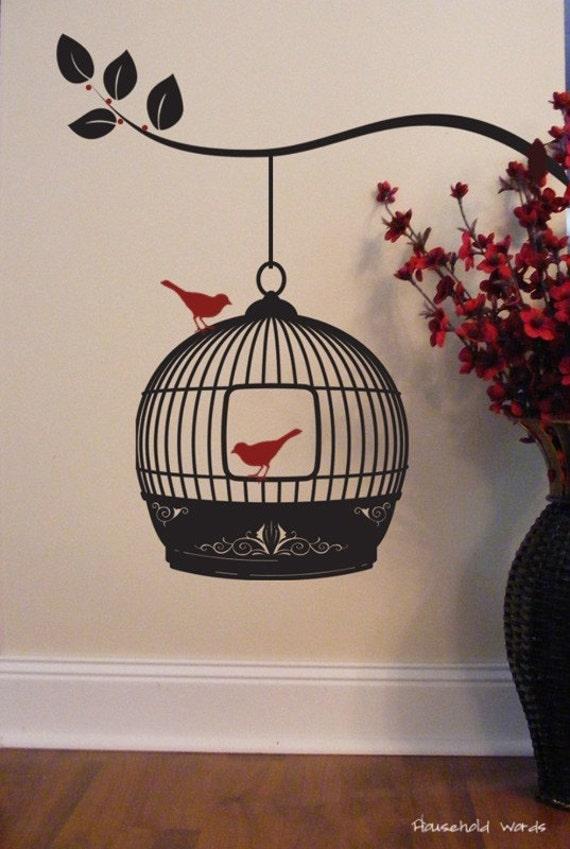 Hanging Bird Cage Vinyl Wall Decal Sticker Art By