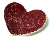 Ruby red heart plate in cream stoneware ceramic pottery Vintage lace texture Candle holder Ring dish Soap dish Love heart Wedding gift ideas