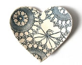 Lacy heart dish in blue and cream