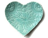 Seafoam heart plate in turquoise blue stoneware ceramic with lace crochet imprint - home decor, soap dish, catch all, ring saver, dessert