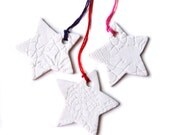 SALE - BUY 1 GET 1 Star Christmas decorations White porcelain ceramic and lace texture Christmas tree holiday decor Set of 3