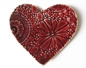 Valentines heart plate in ruby red and cream stoneware ceramic pottery with vintage lace texture Candle holder Ring dish Soap dish