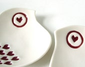 Love birds White porcelain bowl duo Ruby red heart wings Gift under 50 for her Birthday Wedding Anniversary or Engagement gift ideas