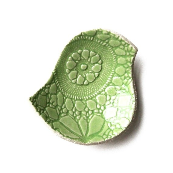 SALE! Pottery Bird Bowl Lime Green Stoneware Lace Ceramic Dish Spring Decor New Home Teacher Bridesmaid Friend Engagement Gift Under 25