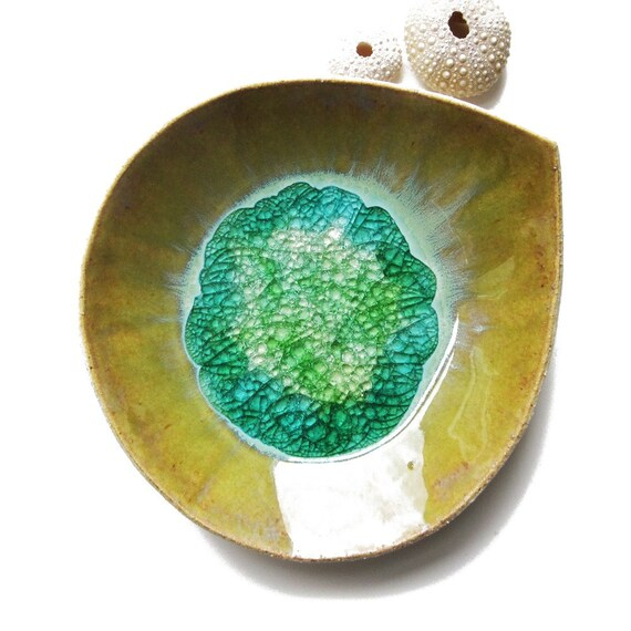 Rainforest leaf dish in stoneware ceramic with recycled clear, green and blue glass - large size