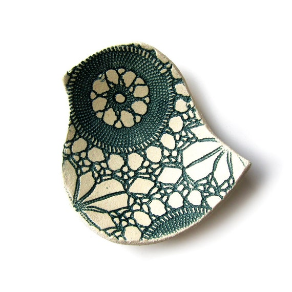 Lacy bird bowl Teal and cream stoneware ceramic pottery bowl with vintage lace texture Decorative home decor bowl