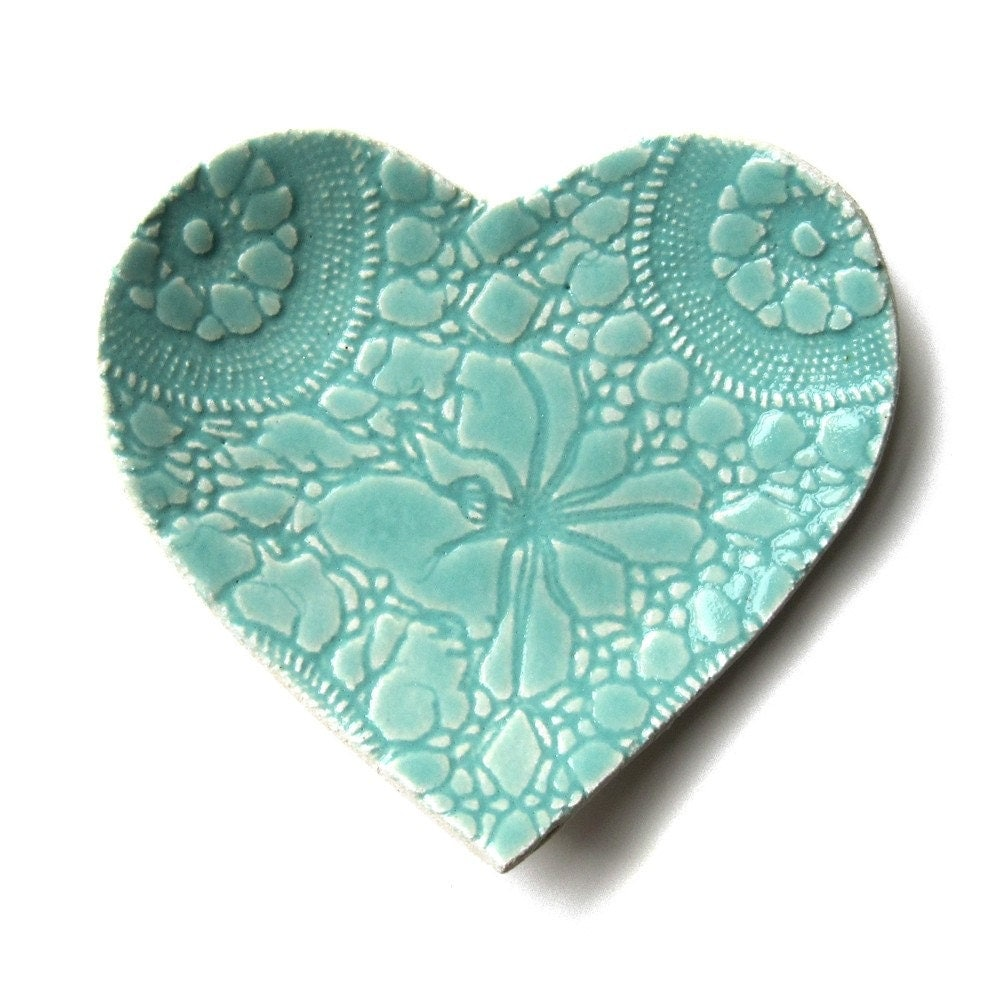 Seafoam Heart Plate In Turquoise Blue Stoneware Ceramic With