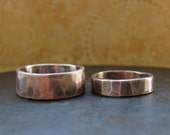 his and hers. custom rustic wedding bands. 14k rose gold