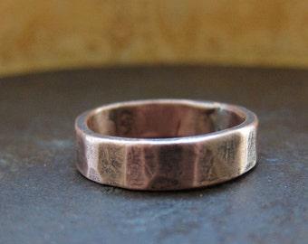 5 mm custom rustic wedding band. 14k rose gold