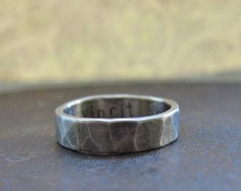 5 mm custom rustic wedding band, silver