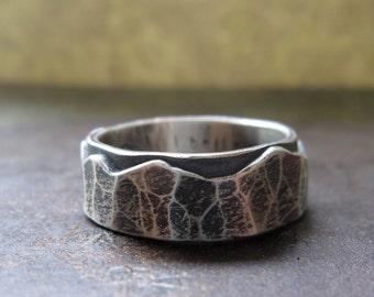 custom rugged wedding band, silver