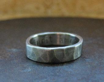 5 mm custom rustic wedding band. 14k white gold