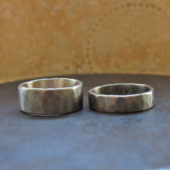 his and hers. custom rustic wedding bands. 14k yellow gold