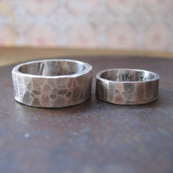 his and hers.  custom rustic wedding bands, silver
