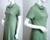 Vintage Dress 1960s Cocktail Dress Metallic Floral Cowl Neck Knitted Dress Fully Lined Size Medium