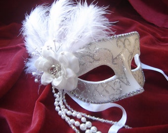 Skull and Bones Bridal Venetian Mask