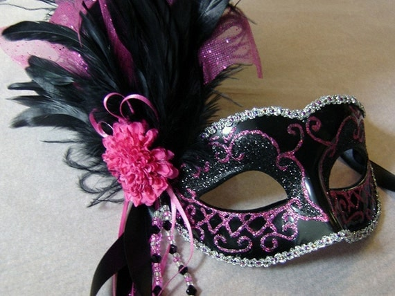 Items Similar To Hot Pink And Black Venetian Mask