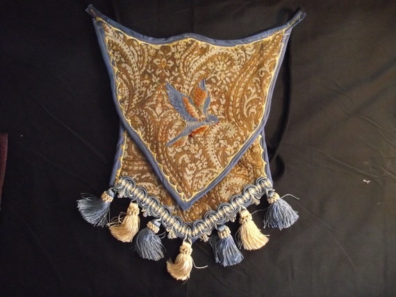 Medieval Banner Purse - Brocade Fabric with Embroidered Blue Bird and Tassels