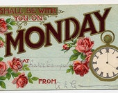 Day Of The Week Postcard - Monday - Roses - Pocket Watch