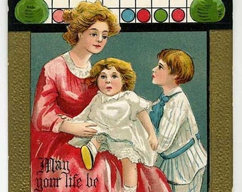 Christmas Postcard - Mother And Children - Signed HBG