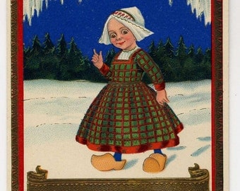 Happy New Year Postcard - Cute Dutch Girl - Gel Coating