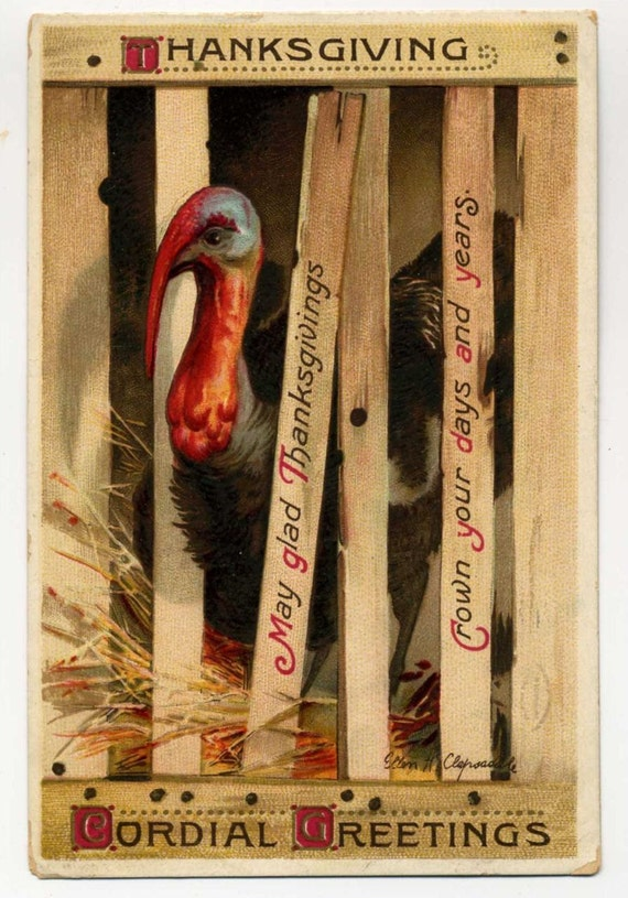 Vintage Thanksgiving Postcard - Signed Clapsaddle - Turkey In Crate - 1912