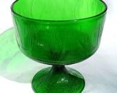 Emerald Green Vintage Hoosier Glass Pedestal Candy Dish