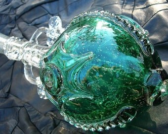Murano Glass Royal Sceptre, Unusual Sculptural Piece from Russia, Teal Green Orb Soviet Collectible