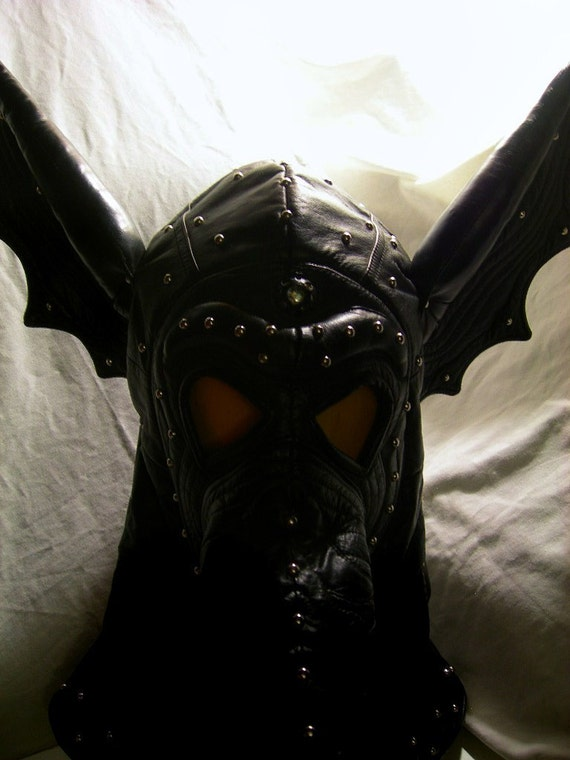 Gothic Bat Wing Leather Plague Mask with Third Eye