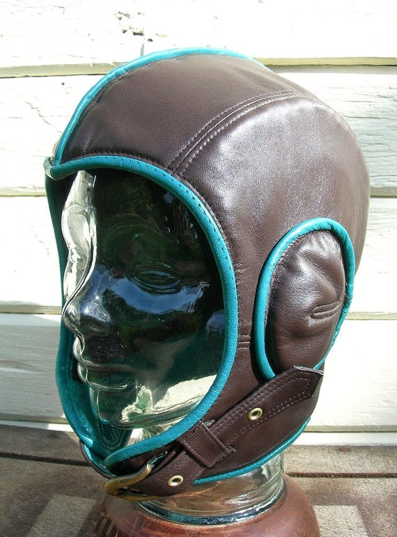 Retro Aviator Hat in Dark Brown Leather with Teal Piping