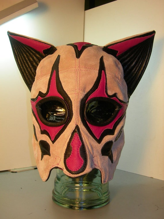 Pink Suede/ Leather Head Mask , the Vixen Cutie