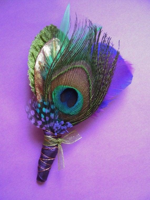 peacock weddingprom boutonniere in jewel tones
