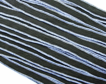KAS Hand Dyed Silk Ribbons BLACK w/Periwinkle
