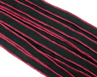 KAS Hand-Dyed  Silk Ribbons BLACK trimmed with RED