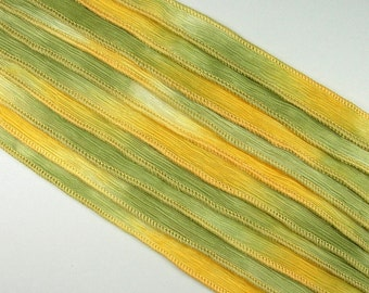 KAS Hand Painted Dyed Silk Ribbons  LEMON 'n LIME