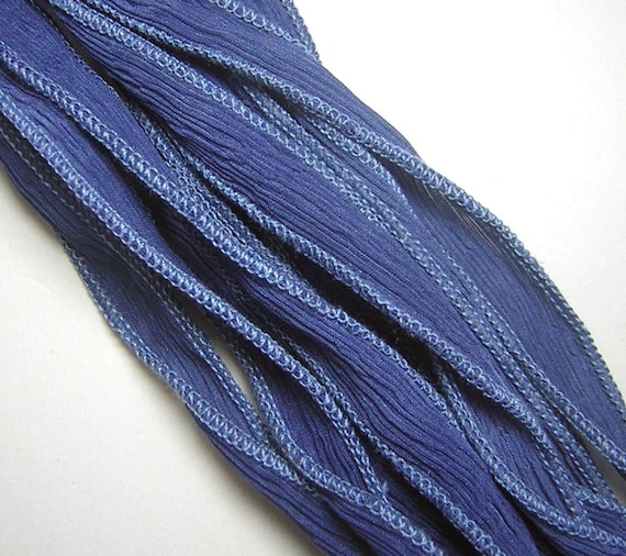 KAS Hand Dyed Silk Ribbons FADED DENIM