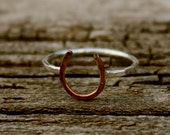Lucky Horseshoe Ring - Copper and Sterling Silver - The Ranch Collection - Jennifer Cervelli Jewelry