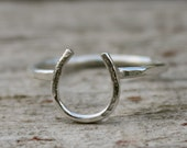 Lucky Horseshoe Ring in all Sterling Silver - Petite