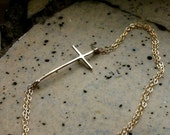 Molly's Sideways Cross Anklet- Yellow Gold Fill