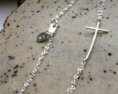 Molly's Sideways Cross Anklet- Sterling silver