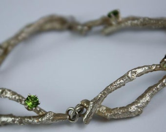 Branch Twigs Bracelet with Peridot Stones in Sterling Silver - Jennifer Cervelli Jewelry