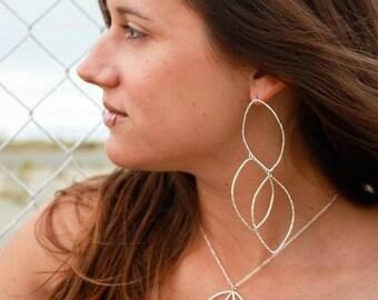 Leaf Earrings - Sterling Silver - Dangle Outline - Autumn Falling Leaves - Jennifer Cervelli Jewelry