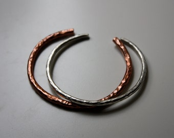 Lucky Horseshoe Cuff Bracelets - Set of Two - Heavy Bangle Textured - The Ranch Collection - Jennifer Cervelli Jewelry