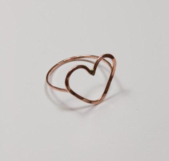 Heart Ring - 14k Rose Pink Gold - Engagement Wedding Ring - Jennifer Cervelli Jewelry