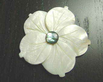 CLEARANCE !!! White Mother of Pearl Plumeria with Light Blue Paua Shell Cabochon