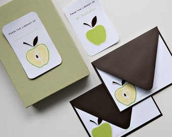 Personalized Fabric Apple Note Card Teacher Set with Bookplates