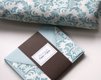Fabric Note Cards - Aqua Damask // Thank You Cards // Stationery // For All Occasions // Post Cards