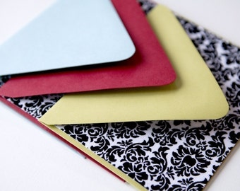Set of 8 FABRIC Flat Note Cards - Damask Fabric Note Cards // Thank You Cards // Stationery // For All Occasions // Post Cards