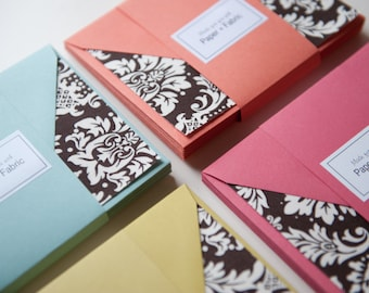 Fabric Note Cards - Chocolate Damask // Thank You Cards // Post Card // For all occasions // Stationery
