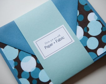 Fabric Note Cards - Aqua Bubbles // Thank You Cards // Post Card // For all occasions // Stationery
